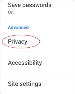 Press Privacy settings